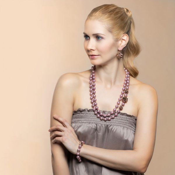 Perlový náhrdelník Daisy ružový
