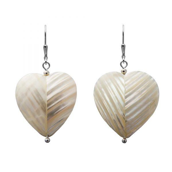 Andrea nausnice srdce perletove biele